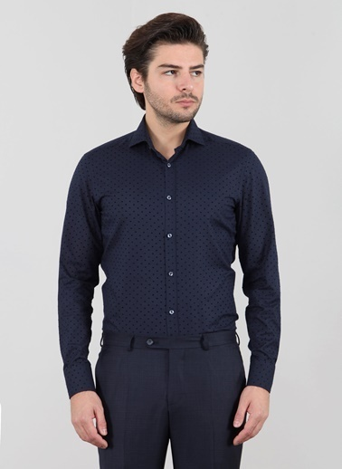 Slim Fit Puantiyeli Gömlek-Ramsey